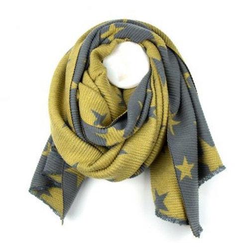 Mustard & Grey Pleated Star  Scarf