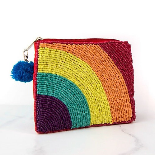Red Beaded Purse With Rainbow
