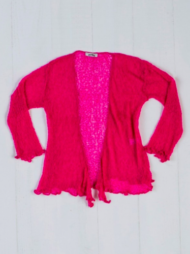 Fair Trade Loose Knit Bright Pink Gringo Shrug, One Size 6 to 20
