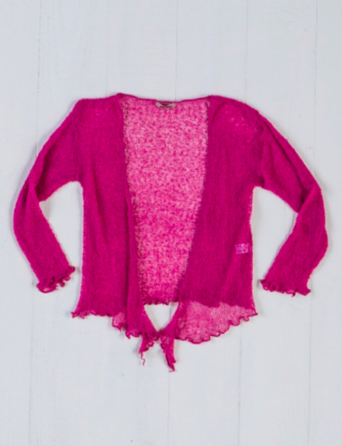 Fair Trade Loose Knit Dusty Pink Gringo Shrug, One Size 6 to 20