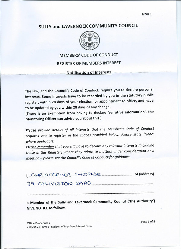 Councillors Notification of Interest