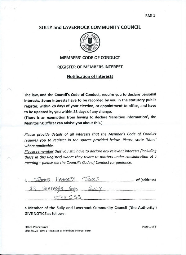 Councillor of Sully and Lavernock Community Council Notification of Interest