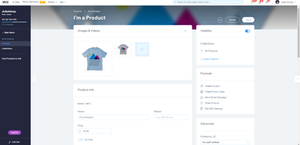 Wix product template page