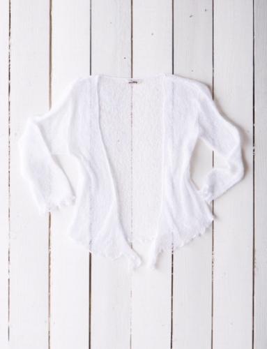 Fair Trade Loose Knit White Gringo Shrug, One Size 6 to 20