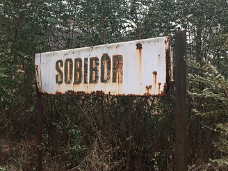 Railway sign at the station in Sobibor v