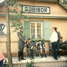 Blatt on set with the 'SS guards', on set of the Sobibór train station
