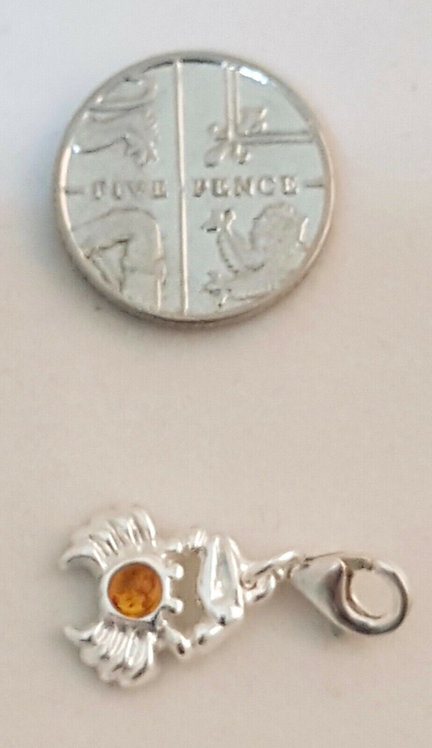 Henryka Amber Jewellery Small Silver and Amber Crab Charm