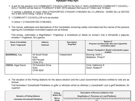 Notice Of Poll - Election of A Community Councillor