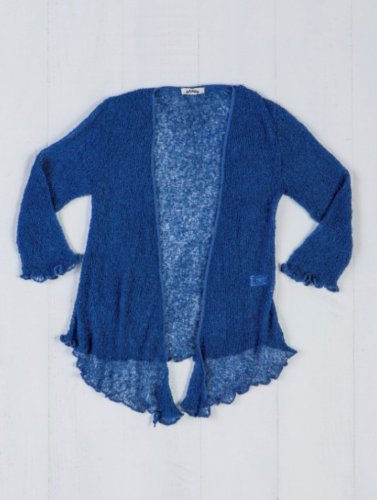 Fair Trade Loose Knit Dark Blue Gringo Shrug, One Size 6 to 20