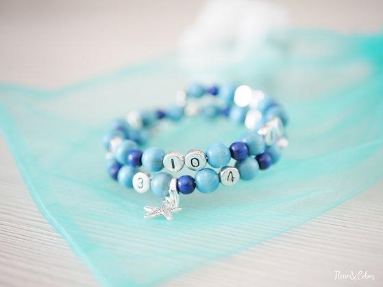 Bracelet d'allaitement - Bleu givré