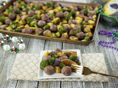 Mardi Gras Meatballs (A simple sheet pan recipe)