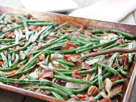 Green Beans with Pecans and Bacon (Sheet Pan Meal)