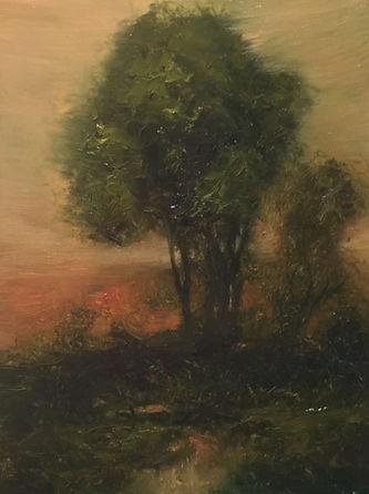 Tonalist landscape in oil.