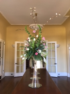 Tall vases on board room table