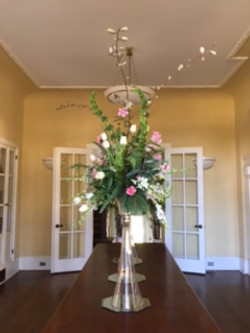 Tall vases on board room table