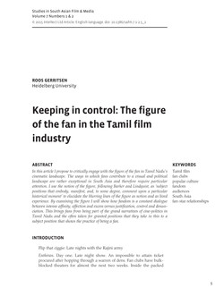 KEEPING IN CONTROL: THE FIGURE OF THE FAN IN THE TAMIL FILM INDUSTRY