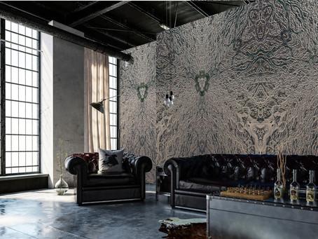"""Kunstprojekt """"Flechtwerk"""" - Wanddekor mit künstlerisch gestaltetem Tapetendesign"""