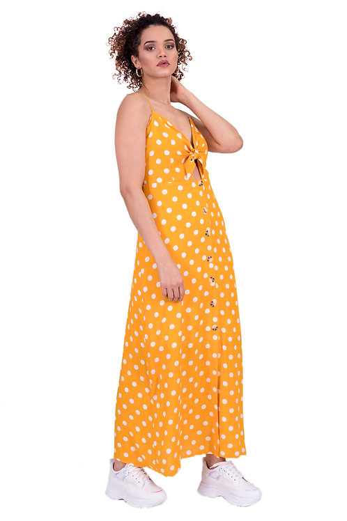 EMILY TIE-FRONT LONG DRESS