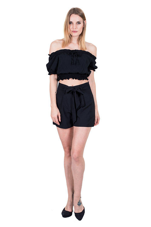 EVERLY BLACK OFF-SHOULDER CROP-TOP