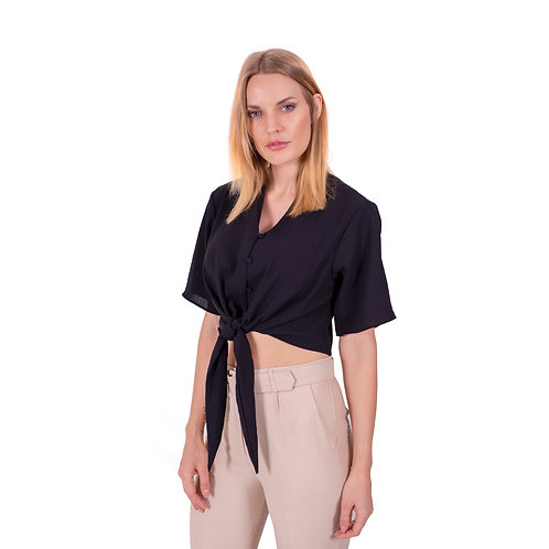 ALICE CROPPED BLACK BLOUSE