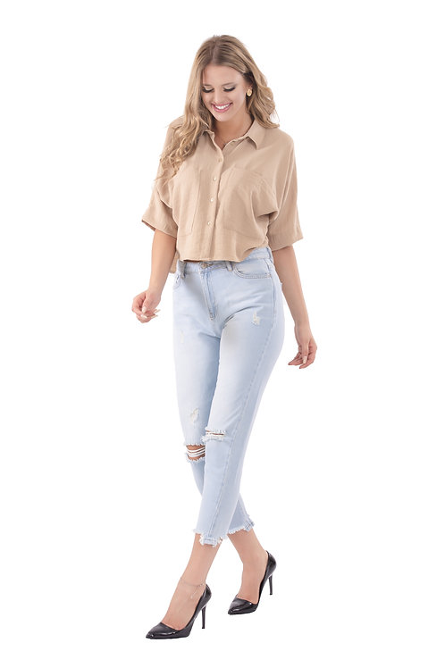 SARAH BEIGE OVER-SIZE CROPPED BLOUSE
