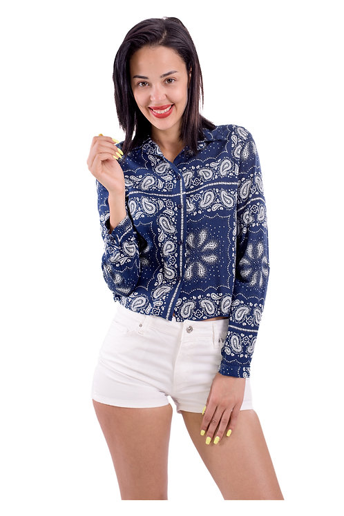PAISLEY BLUE STYLISH BLOUSE