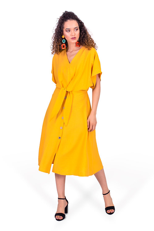 ISABELLE TIE FRONT MIDI DRESS