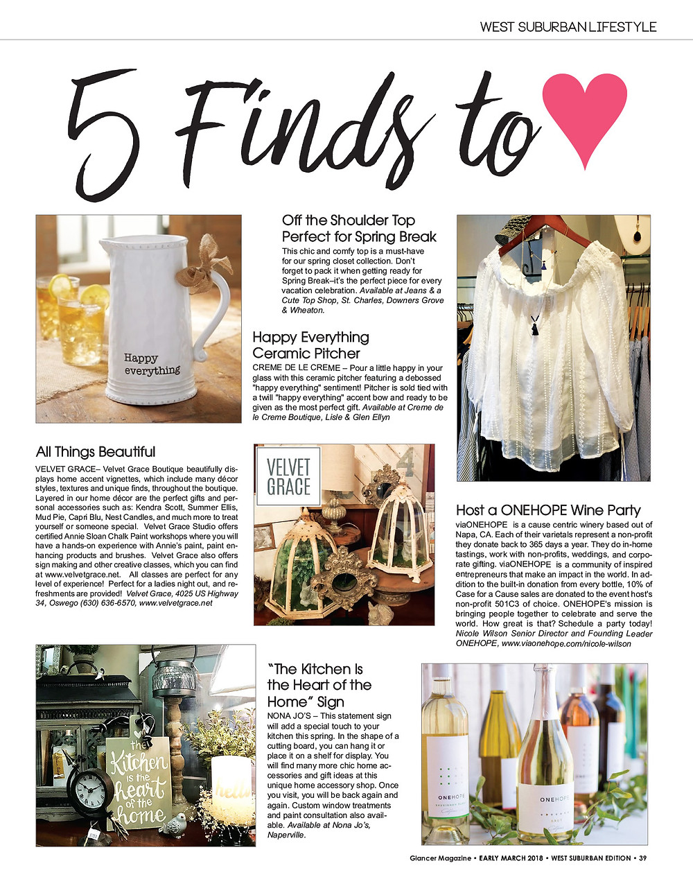 5 Finds to Love, Glancer Magazine, March 2018
