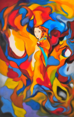 A woman dressed in a blanket