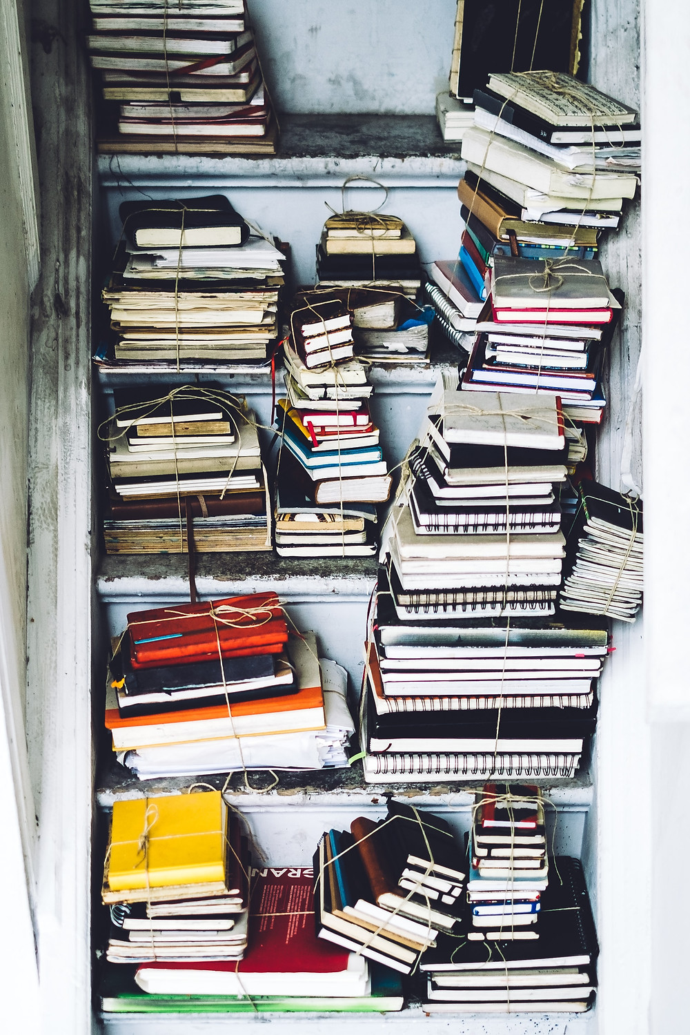 Piles of Books, Manuscripts, Docs for Research