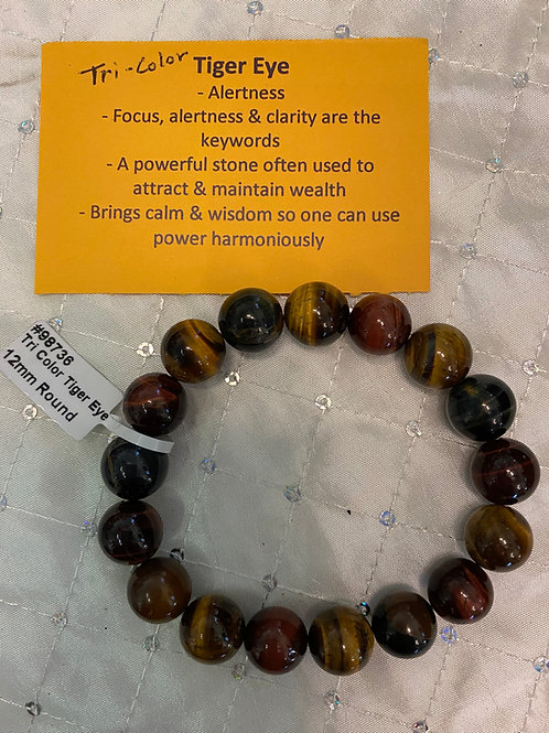 Tri color Tiger Eye Bracelet (8mm)