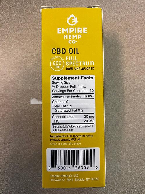 CBD 600 mg, RAW, No Flavor, Full Spectrum Oil