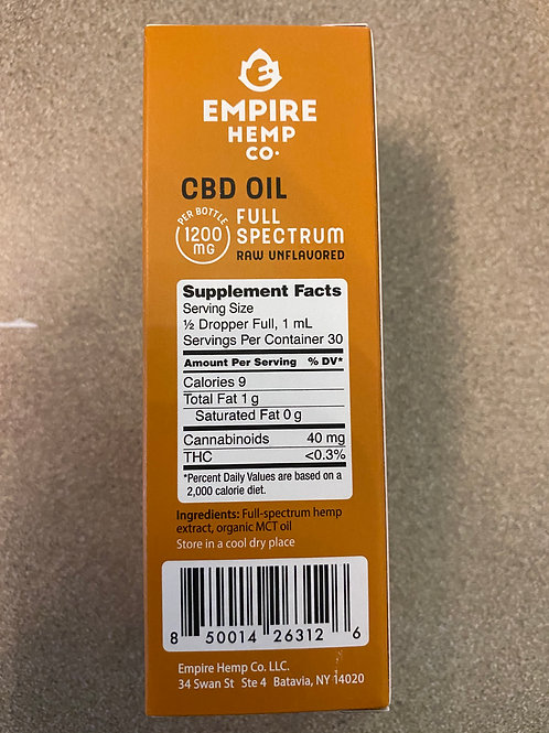CBD 1200 mg, RAW, No Flavor Full Spectrum Oil