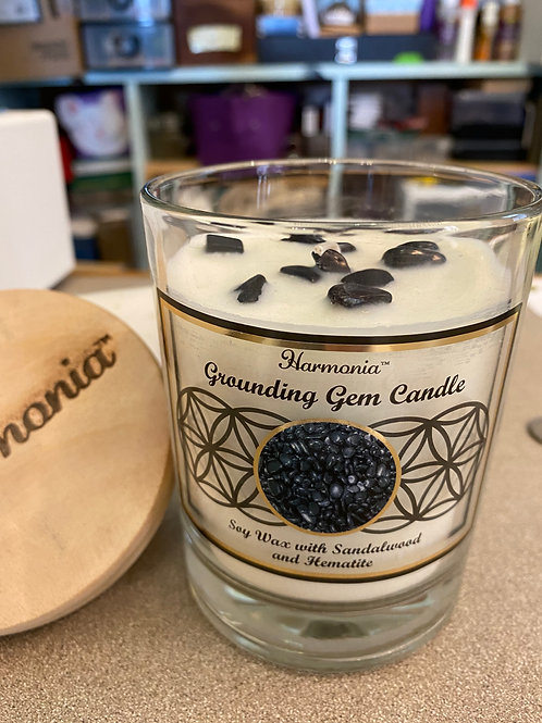 """6"""" Sandalwood Scent, Hematite Chips Candle"""