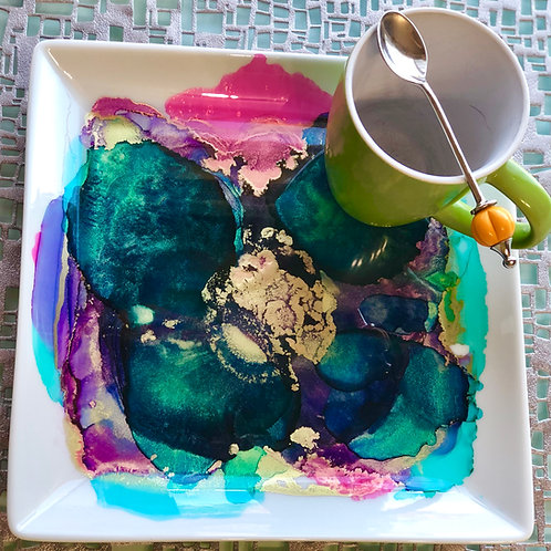 Turquoise and Magenta Art Plate