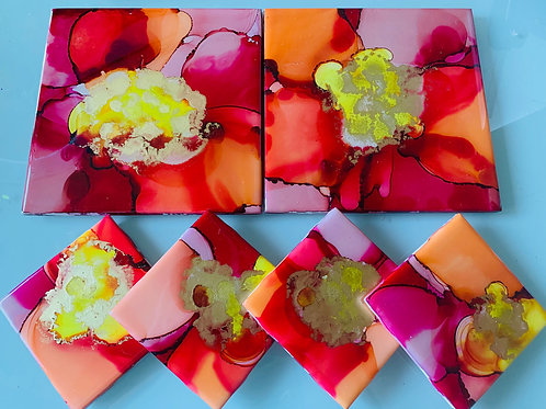 Orange Pink Alcohol Ink Resin Coasters and Hot Plate