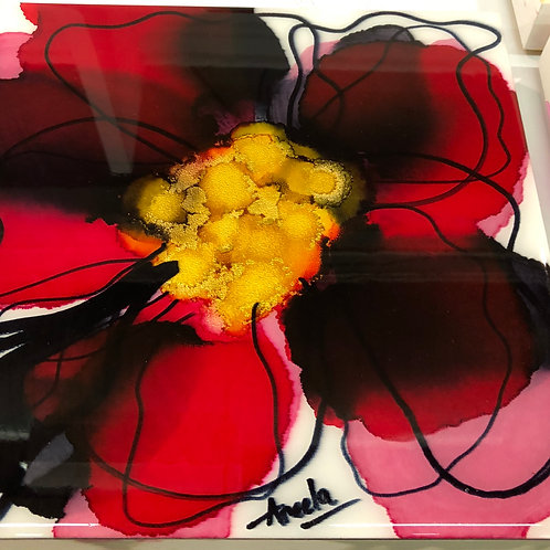 """12x12"""" Alcohol Ink on Gesso Board with Resin Varnish"""