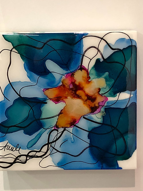 """8x8"""" Alcohol Ink on Gesso Board with Resin Varnish"""