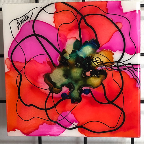 """8x8"""" Vibrance Alcohol Ink on Gesso Board"""