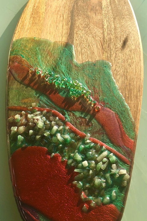 Bronze and Mint Green Emerald Encrusted Oval Charcuterie Board
