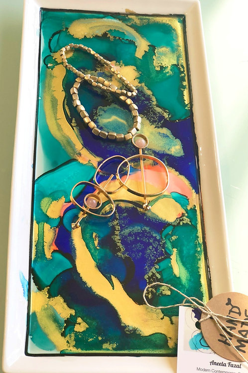 Large Turquoise and Royal Blue Jewelry Plate