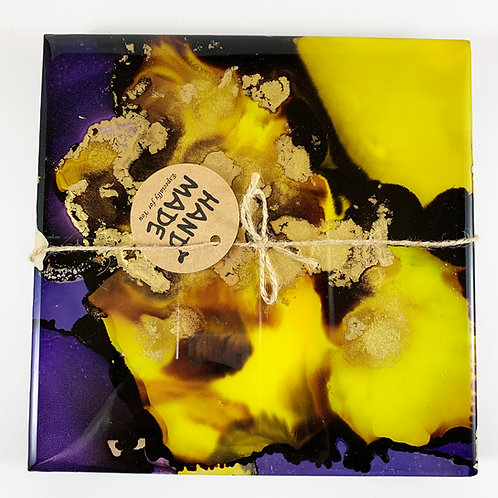 Purple Yellow Alcohol Ink Resin Coasters Hot Plates Set