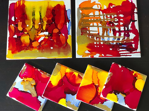 Red and Yellow Hand Painted Alcohol Ink and Resin Coasters and Hot Plates Set