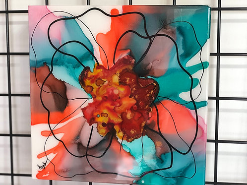 """12x12"""" Live in The Moment Alcohol Ink on Gesso Board"""