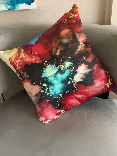 Red Bloom Pure Silk Accent Pillow
