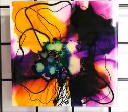 "Violet Rain 8x8"" Ink on Gesso"
