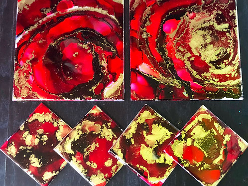 Roses are Red Hand Painted Alcohol Ink and Resin Coasters and Hot Plate
