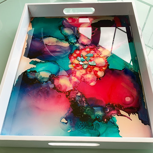 Magenta Teal Purple Wooden Tray