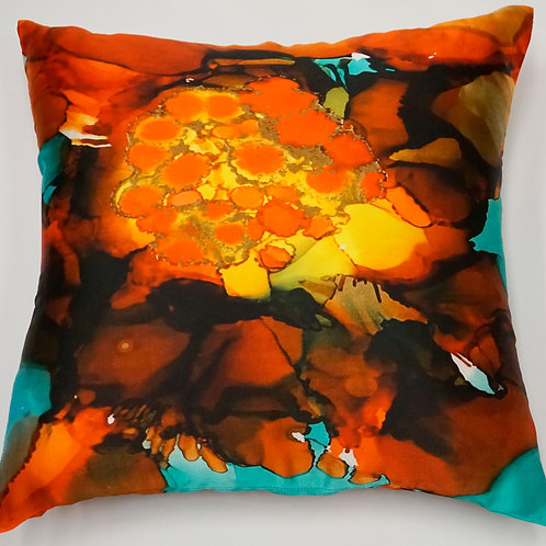 Teal Bloom Pure Silk Accent Pillow