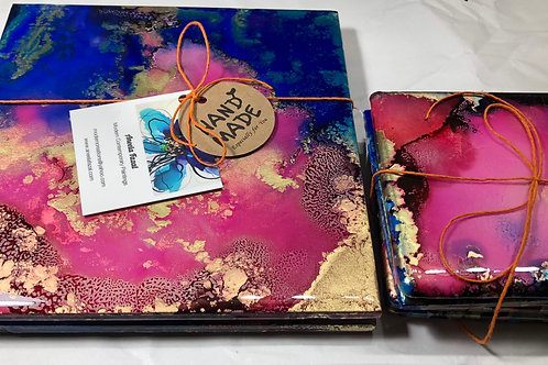 Pink and Navy Alcohol Ink Resin Coasters Hot Plates Set